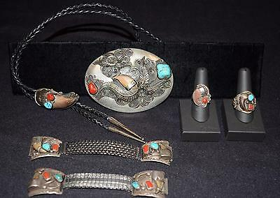 NATIVE AMERICAN STYLE STERLING SILVER BELT BUCKLE BOLO RINGS WATCH BANDS  183 g