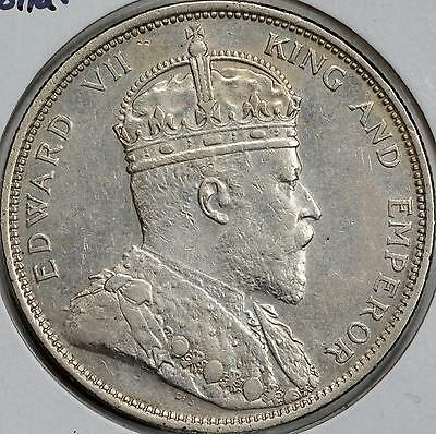 1904 Straits Settlements Silver Dollar $1 Au Rare High Quality Key Date Km# 25