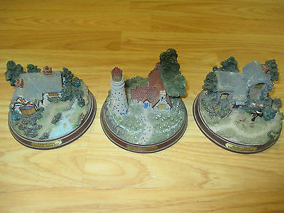 "Set of (3) Thomas Kinkade Lighted Figurines 5""D x Appr 3""H House Cottage WORKING"