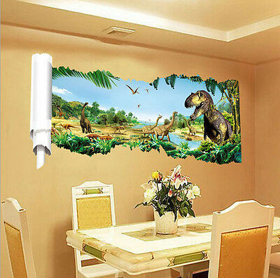 3D Dinosaur Wall Sticker Kids Children Room Decor Jurassic Park Decal DIY HG