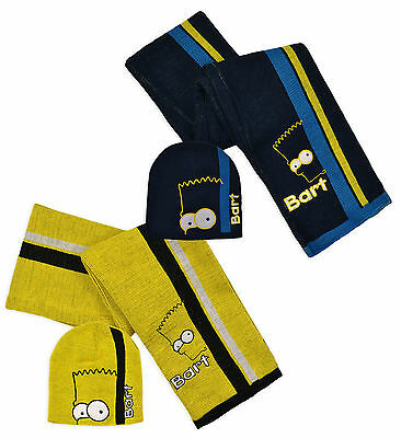 Boys The Simpsons Bart Hat & Scarf Set in 2 Colours Style HM4284