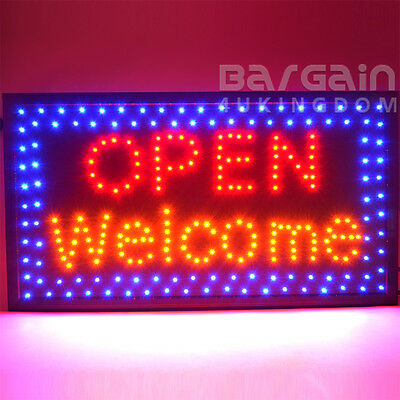 Large Top Quality Bright Flashing LED OPEN WELCOME Shop Sign Neon Window Display