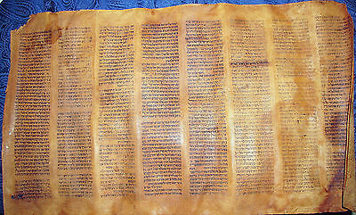 Antique Torah Scroll Bible Gevil-skin Oriental Manuscript Fragment 18th C.Hebrew