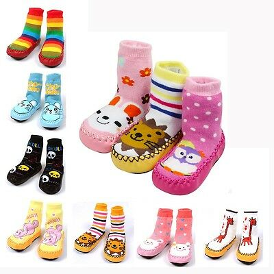 Baby Toddler Moccasins Non-Slip Shoes Socks Booties Slippers Long Multi Style