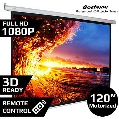 "120"" 4:3 Electric Motorized Projector Screen Auto Remote Control Cinema HD/3D"