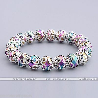 1X Stretchy Colorful Crystal Glass Faceted Flower Bead Bangle Bracelet Women HOT