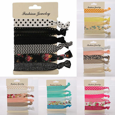 6pcs Hot Lovely Women Knotted Elastic Hair Band Rope Ponytail Holder Hair Ties