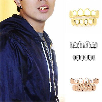 Hip Hop Gold/Silver Plated Grills Grillz Top & Bottom Open Hollow Teeth Set Hot