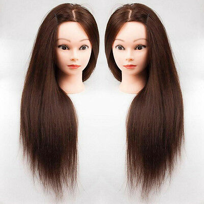 100% Women Real Human Hair Training Head Mannequin Hairdressing Practice + Clamp