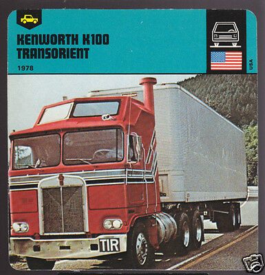 1978 KENWORTH K100 TRANSORIENT Truck Picture Fact CARD