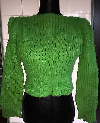 Vintage 1940s 40s Apple Green Puff Sleeve Handknit Wool Cropped Sweater