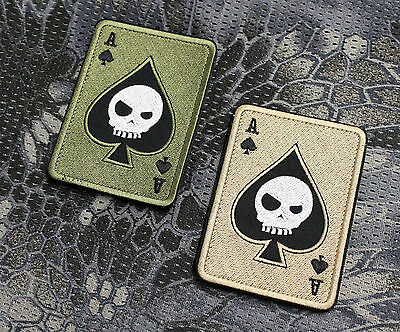 Patch Aufnäher Pik As Ass Paintball Poker Gotcha Militär Airsoft Death Card EDC