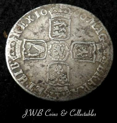 1696 William III Silver Shilling Coin - Ref; t/m
