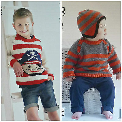 KNITTING PATTERN Boys Round Neck Pirate Design Striped Jumper DK King Cole 3917