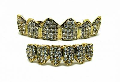 Ultimate Bling Top & bottom Prong Set Genuine CZ Crystal Grillz set