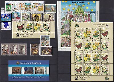 San Marino - Postage stamps 1993 Full Year set - All Unused MNH Luxe.......T5209
