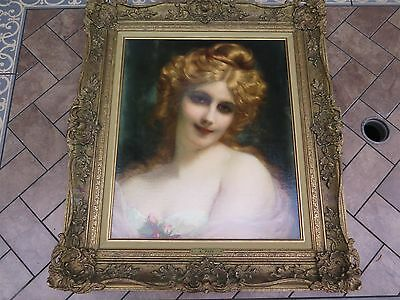 Coquette Adolphe Piot Original Signed Oil Canvas Antique Framed Art Painting A.