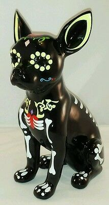 """Day of the Dead Sugar Skull Chihuahua Dog Statue 12"""" Tall"""