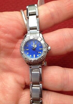 New Activa Watch Women's Blue Stainless Steel Silver Needs Battery