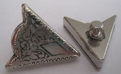 1 Pair Small Collar Tips - Silver Color Engraved Detail Decoration Western Shirt
