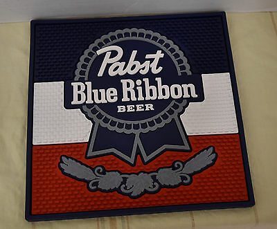 "Pabst Blue Ribbon Beer 14"" X 14"" Rubber Bar Mat New"
