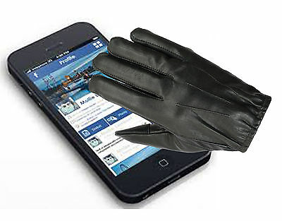 Tactical Police Duty Search Gloves Unlined Thin Touch Screen Soft Leather Black