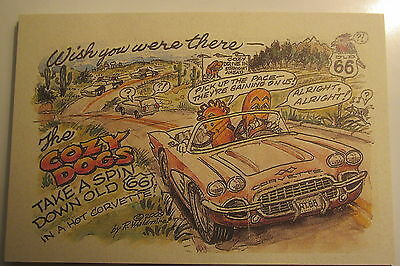 Corvette with the Cozy Dogs by late Bob Waldmire Artist Route 66 Post Card, qu s
