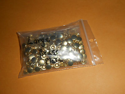 New Large Brass Plated Hardened Steel Rivets 100 Pack.
