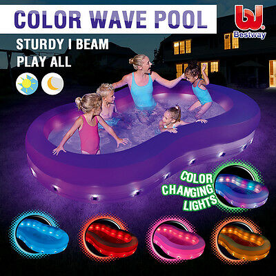 """Bestway 110 x 62"""" Colour Changing LED Light 6 Color Wave Kids Summer Pool Party"""