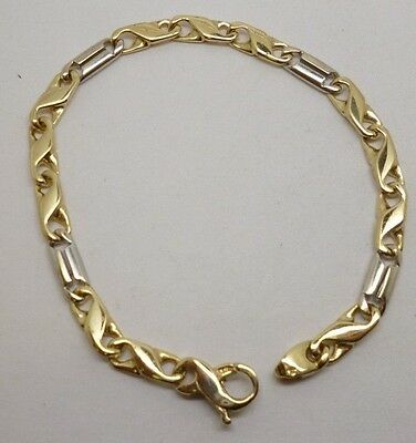 Gorgeous 9ct Yellow Gold & 9ct White Gold Ornate 7 Inch Fancy Link Bracelet