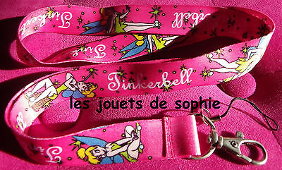 Clochette rose TOUR COU tinkerbell cordon porte clef Badge KEYCHAIN clef lanyard