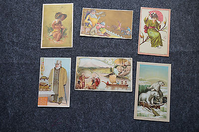 Lot of 6 Antique Victorian Trade Cards Fancy Goods Coffee Singer Sewing Machine