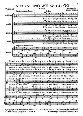 J. Creed: A-hunting We Will Go. Choral Sheet Music
