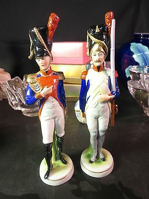"""2 Napoleonic 7-1/2"""" Porcelain Soldiers Scheibe Alsbach Sister Different Uniforms"""