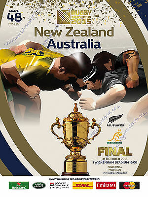 NEW ZEALAND ALL BLACKS v AUSTRALIA 2015 RWC FINAL PROG + COA GUARANTEED ORIGINAL