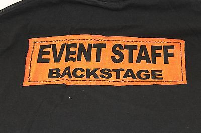 "Large black ""Event Staff Backstage"" t shirt crew roadies"