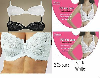 Under Wired Bra Non-Padded Lace Full Cup Support Bra Black & White,34 -44, B-Dd