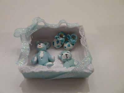 Dolls House Miniature 1:12 Scale Nursery Shop Blue Baby Gift Box