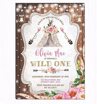 Floral Boho First 1st Birthday Invitation Tribal Teepee Party Invite Wild One