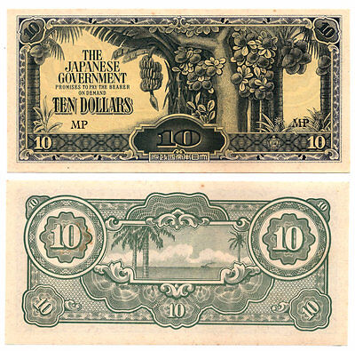 1942 MALAYA #M7c $10 DOLLARS CURRENCY PAPER MONEY WW II CRISP UNCIRCULATED NOTE