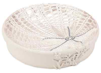 Ivory Sequin Shell Soap Dish Holder Resin Coastal Bath Tray Modern Bathroom New