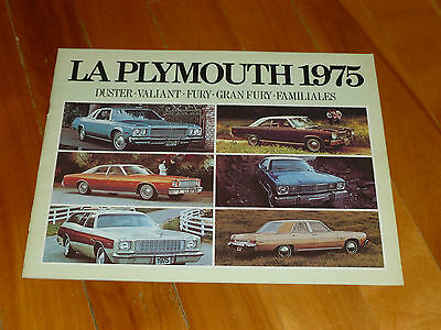 Plymouth 1975 Fury Duster Road Runner Brochure Catalog French Original Vintage