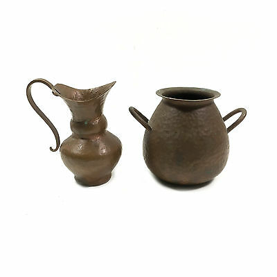 Lot of Two - Small Hammered Copper Ewer Jug + Pot with Handles, Made in Chile