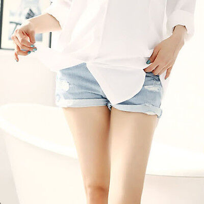 Woman Maternity Jeans Shorts Casual Loose Over Bump Soft Pants Frayed Shorts Pop