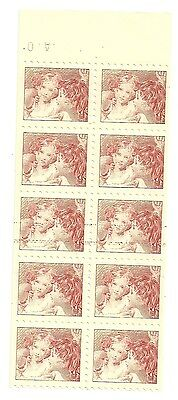 1967 Baby Sisters Experiment Issue Ochre block of 10, mint no gum (as issued)