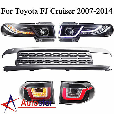 For 2007-2015 Toyota FJ Cruiser New LED Halo Headlights+Tail Lights+Grille Set