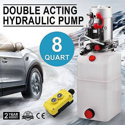 Double Acting Hydraulic Pump 12V Dump Trailer 8 Quart Reservoir Crane Power Unit