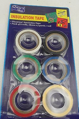 Electrical Tape, 6 Pc, 18mm × 4.5M Length, Astd Colours - free Postage
