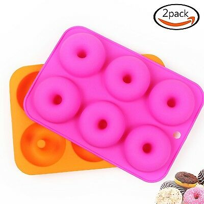 Goodlucky365 (2 Pcs) 6 Silicone Cake Moulds Donut Moulds Doughnut Chocolate S...