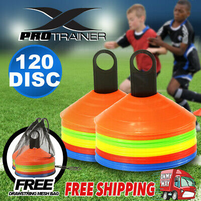 120 Pack Sports Training Discs Markers Cones Soccer Afl Exercise Personal Fitnes